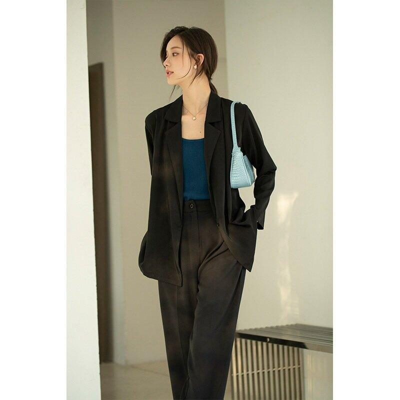 2021春季韓版氣質翻領繫帶西裝外套春季新款寬鬆輕薄垂感西服