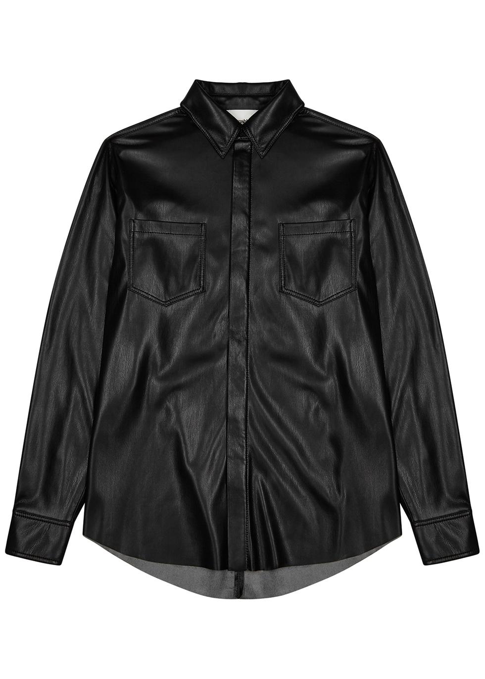 Declan black faux leather shirt