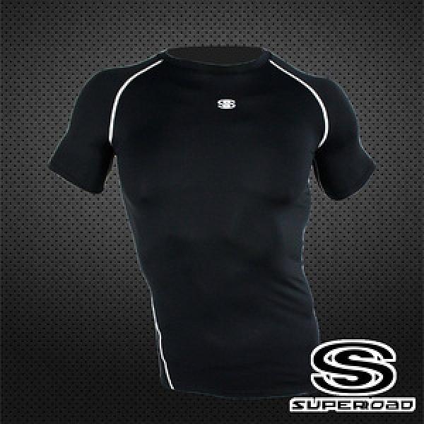 【SUPEROAD SPORTS】涼感速乾 專業機能運動短袖緊身衣黑色-XL號