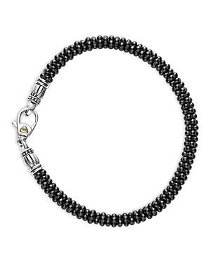 Lagos Black Caviar Ceramic Sterling Silver and 18K Gold Bracelet, 7.5