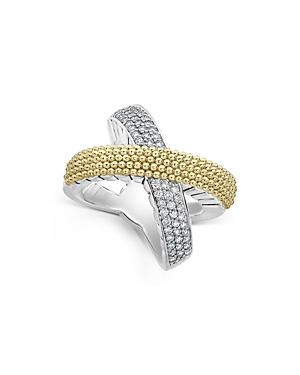 Lagos Sterling Silver & 18K Yellow Gold Caviar Lux Diamond Ring