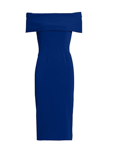 Off-The-Shoulder Core Crepe Cocktail Dress