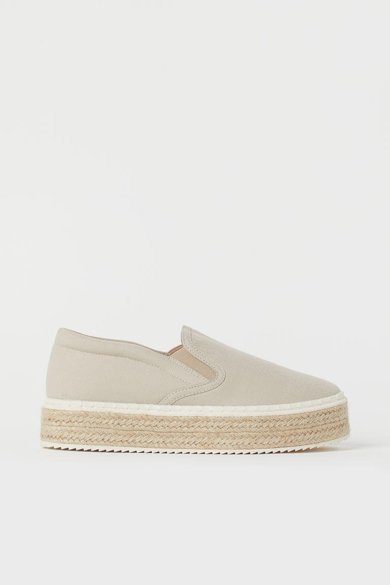 H & M - 厚底草編鞋 - 米黃色