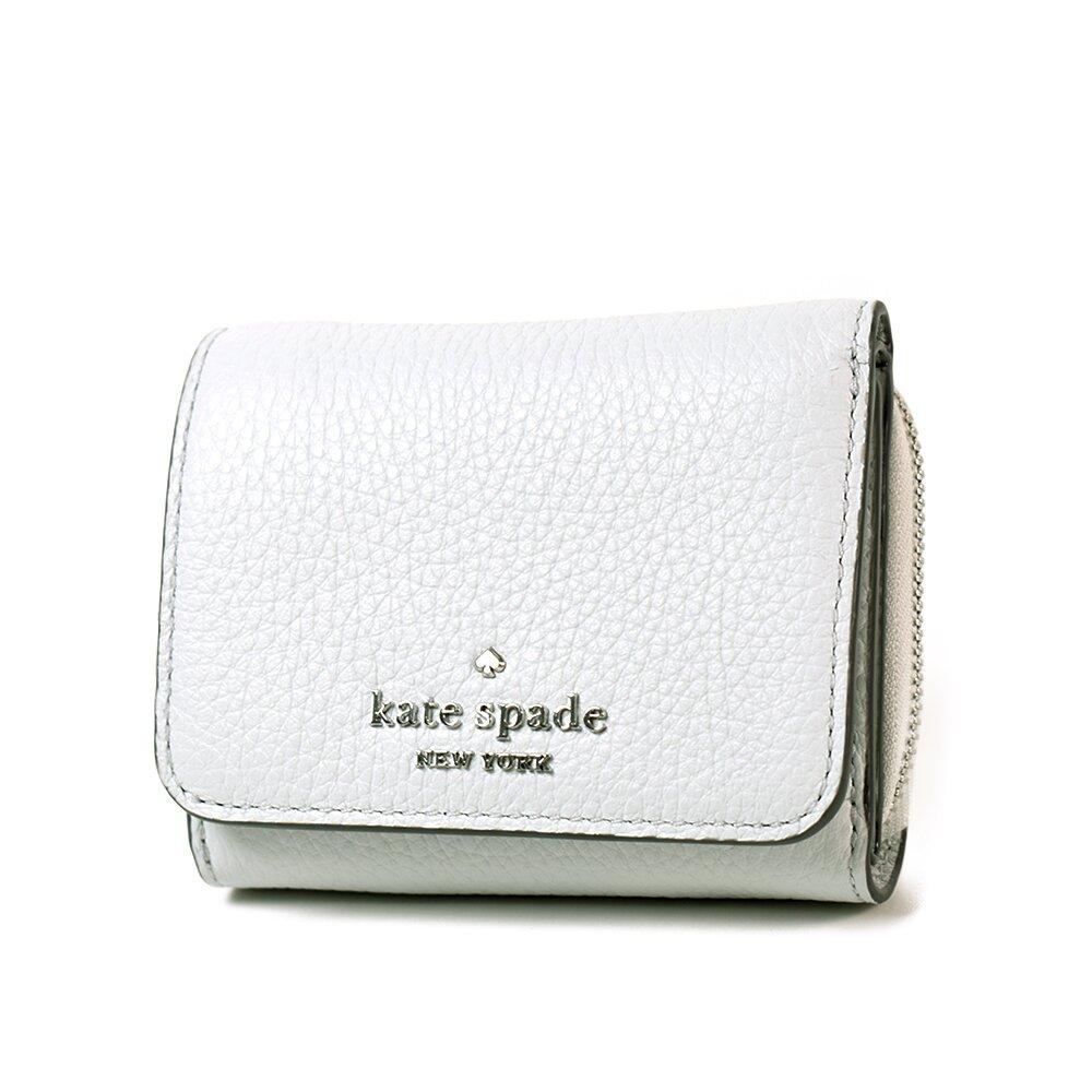 KATE SPADE 銀字荔枝紋皮革三折釦式短夾-米灰色