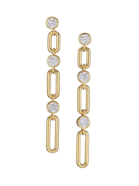 Linxy 18K Goldplated & Cubic Zirconia Extra-Large Linear Earrings