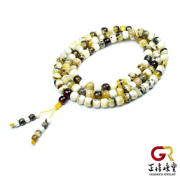 蜜蠟琥珀 極品白瓷根珀轉運珠 白瓷蜜蠟8.8mm念珠佛珠 108顆|特製棉繩 正佳珠寶