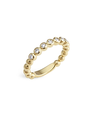 Lagos 18K Gold Beaded and Diamond Ring
