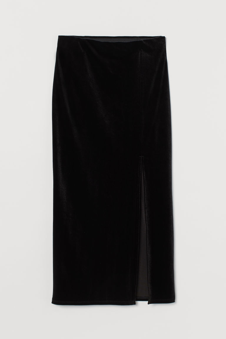 H & M - 開衩絲絨裙 - 黑色