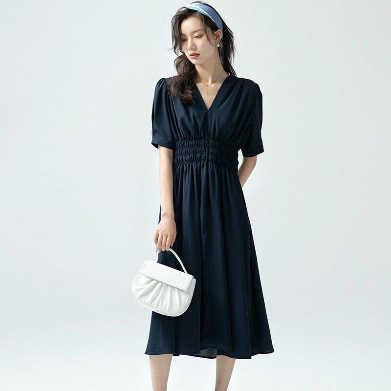 V領連衣裙女夏2021新款法式氣質收腰顯瘦大裙襬短袖雪紡a字裙