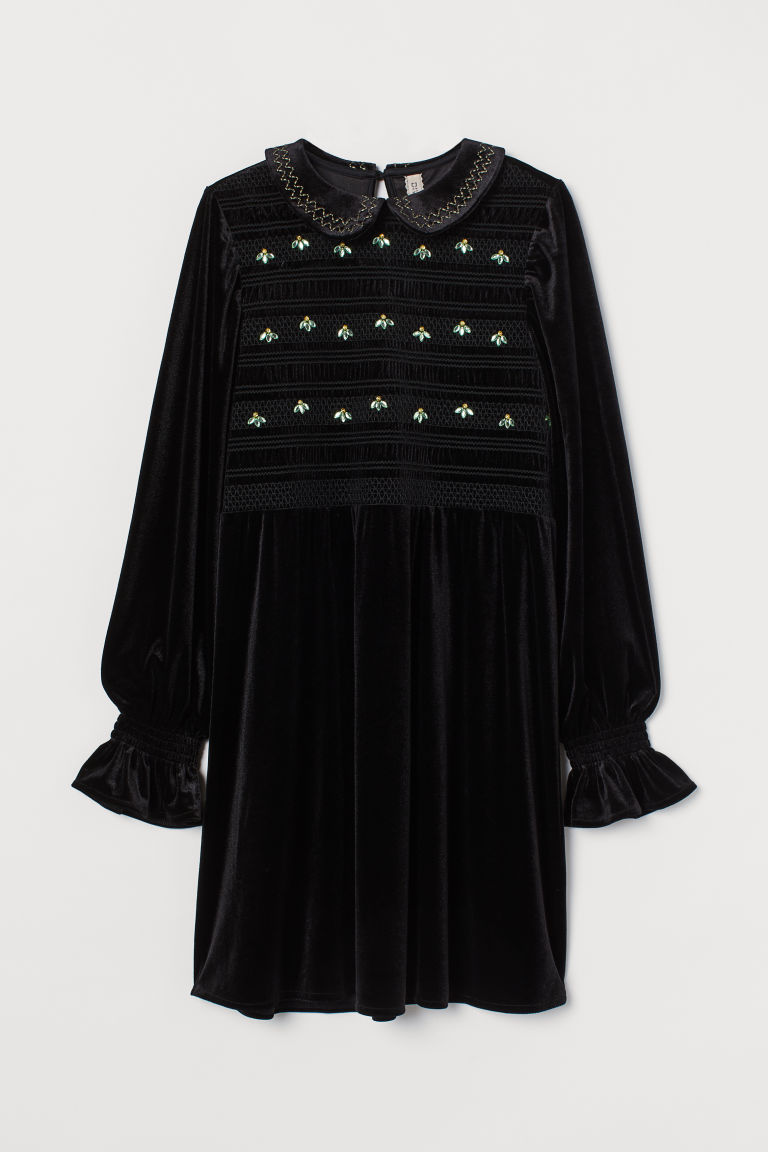 H & M - 縮褶細節絲絨洋裝 - 黑色