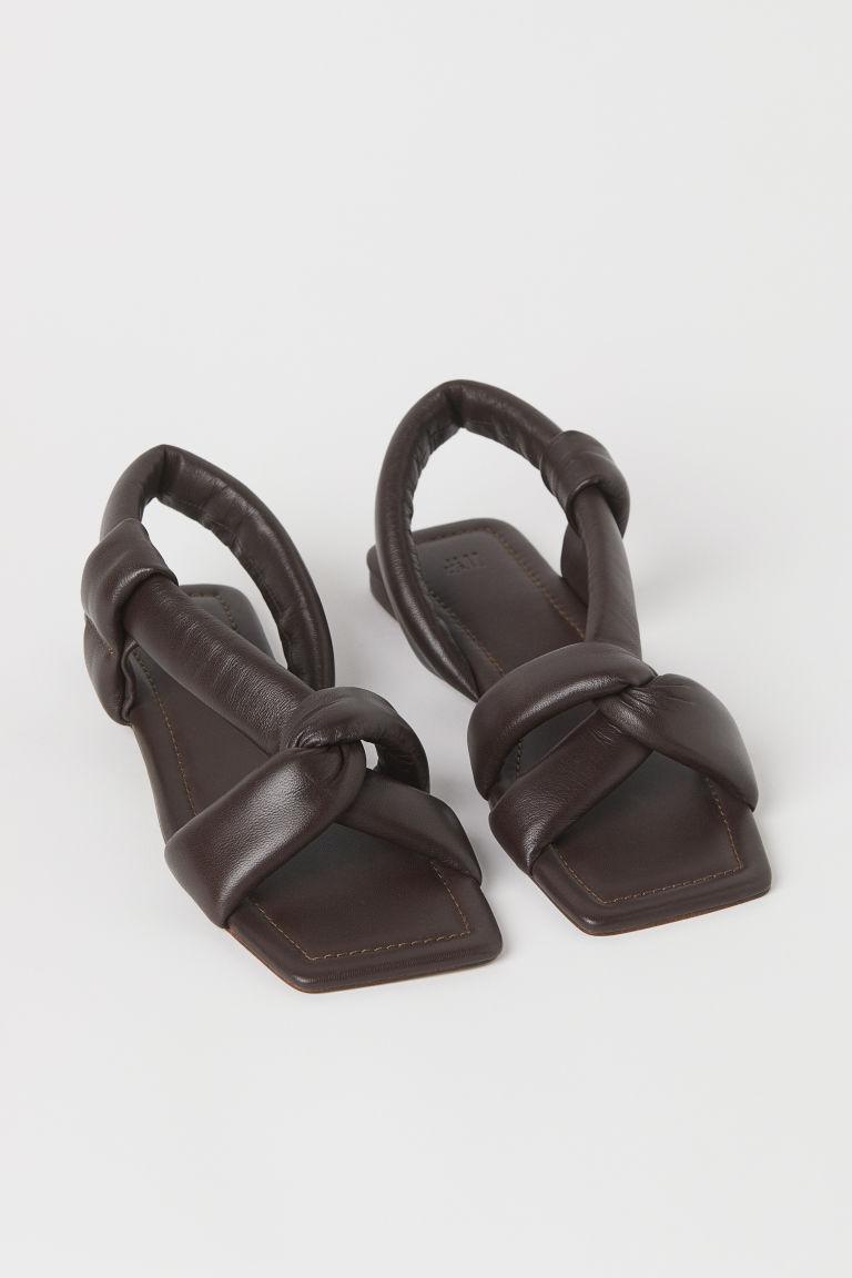 H & M - 真皮涼鞋 - 褐色