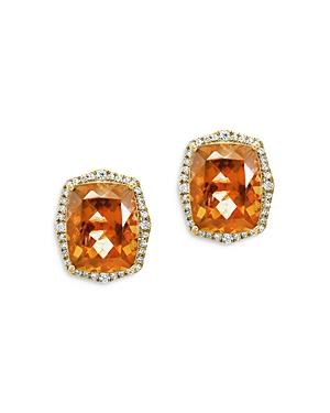 Bloomingdale's Citrine & Diamond Halo Stud Earrings in 14K Yellow Gold - 100% Exclusive