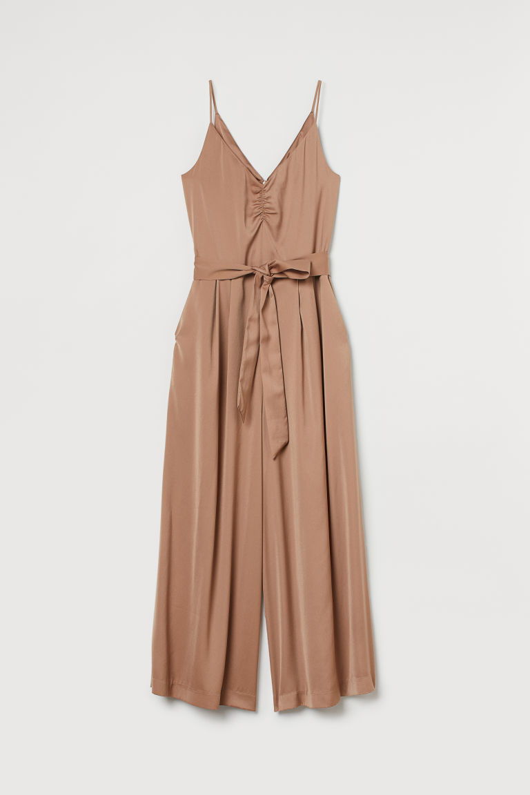 H & M - 綁帶連身褲裝 - 米黃色