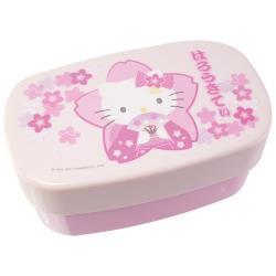 HELLO KITTY和服櫻花便當盒餐盒雙層便當盒附束帶 966331【卡通小物】
