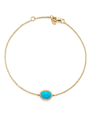 Oval Bezel Set Turquoise Chain Bracelet in 14K Yellow Gold - 100% Exclusive