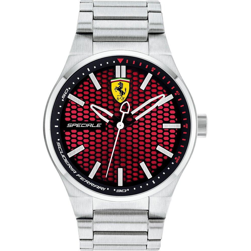 Scuderia Ferrari 法拉利 奔馳競速腕錶-紅x銀/44mm FA0830357
