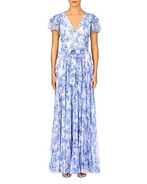 Ml Monique Lhuillier Flutter Sleeve Pleated Chiffon Maxi Dress