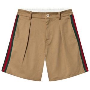 Gucci Gucci Beige Chino Shorts with Web Trim and Gucci Badge 6 years