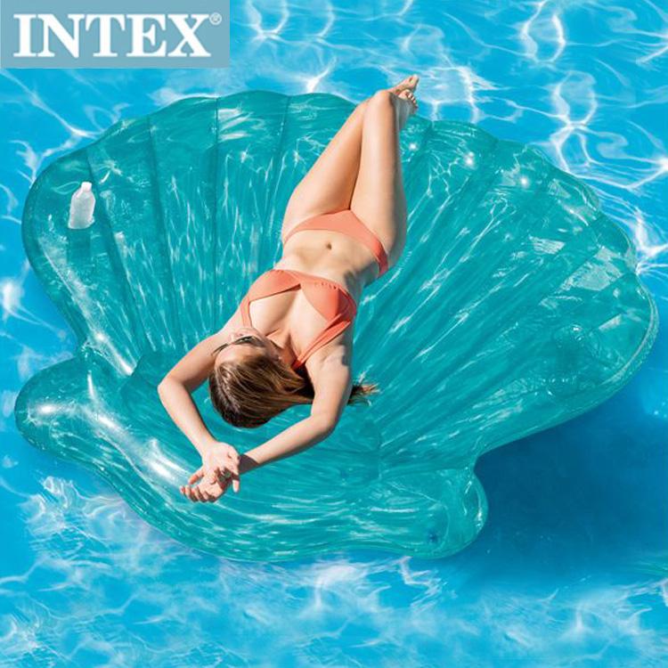 泳圈 浮排 INTEX夢幻美人魚貝殼杯架設計氣墊浮排【RLC57255】