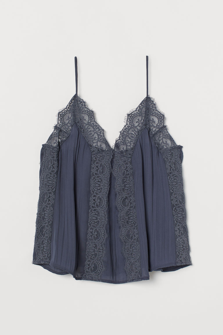 H & M - 蕾絲細肩帶上衣 - 藍色