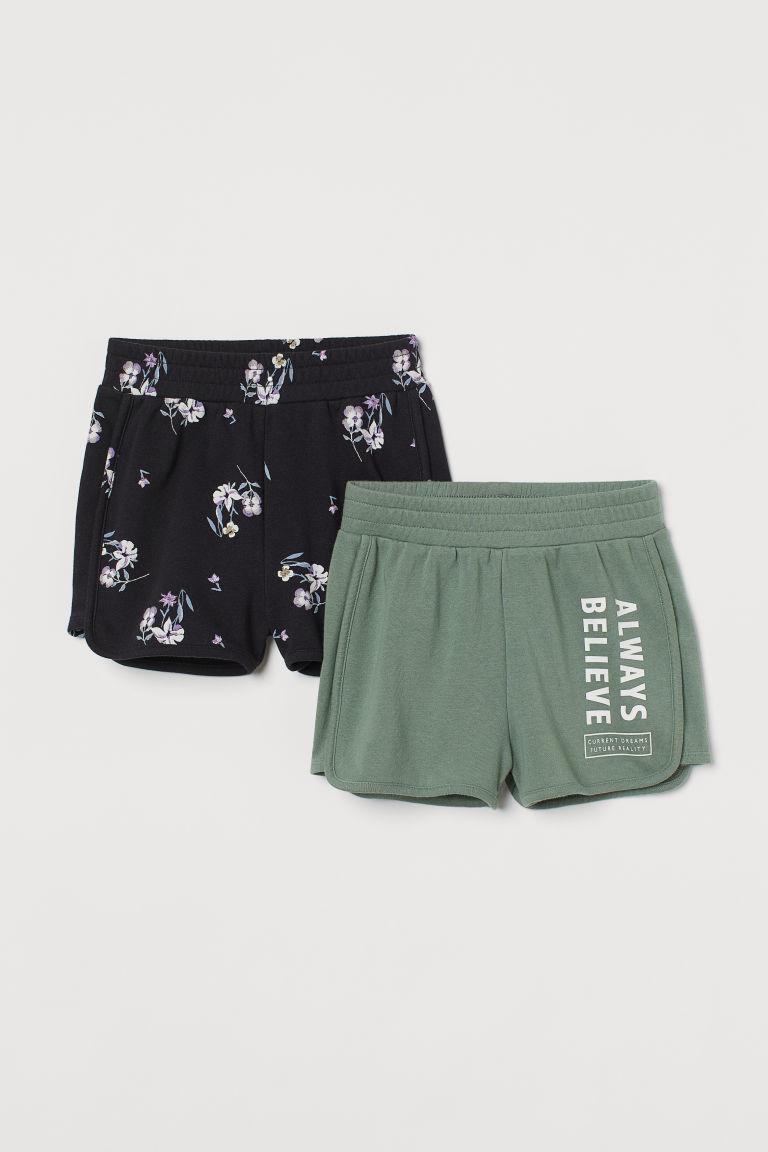 H & M - 2件入運動短褲 - 綠色