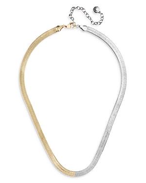 Baublebar Half & Half Herringbone Chain Choker Necklace, 16