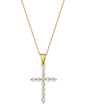 Bloomingdale's Diamond Large Cross Pendant Necklace in 14K Yellow Gold, 0.50 ct. t.w. - 100% Exclusi