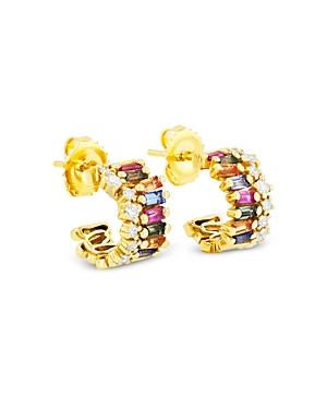Suzanne Kalan 18K Yellow Gold Rainbow Sapphire & Diamond Wide Huggie Hoop Earrings
