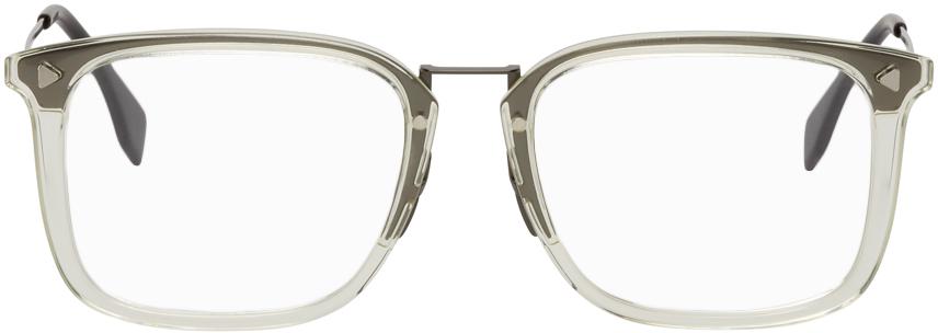 Fendi 透明 & 枪色方框眼镜