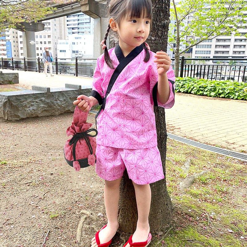 日本 人氣花色 孩童甚平 100cm 110cm 120cm 130cm 小包 套組-粉