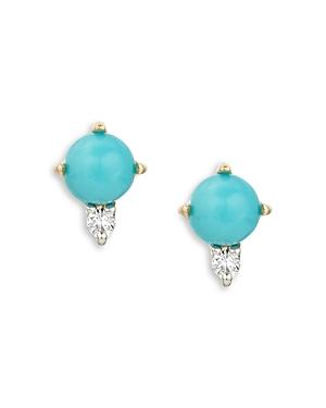 Adina Reyter 14K Yellow Gold Turquoise & Diamond Stud Earrings