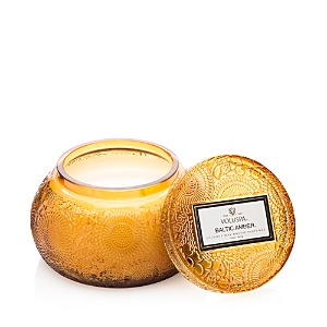 Voluspa Japonica Baltic Amber Embossed Glass Chawan Bowl Candle