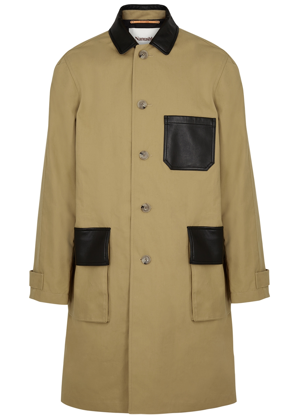 Kane camel leather-trimmed cotton coat