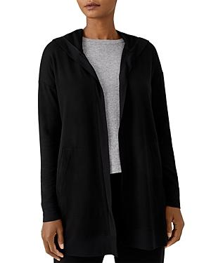 Eileen Fisher Open Front Long Hooded Sweatshirt