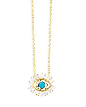 Suzanne Kalan 18K Yellow Gold Sleeping Beauty Diamond & Turquoise Eye Pendant Necklace, 18