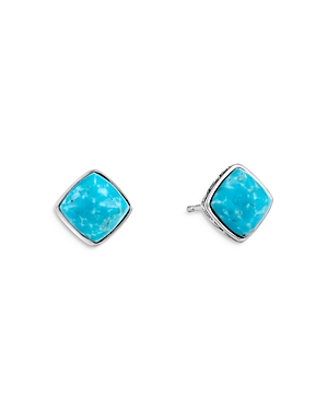 John Hardy Sterling Silver Classic Chain Turquoise Sugarloaf Stud Earrings