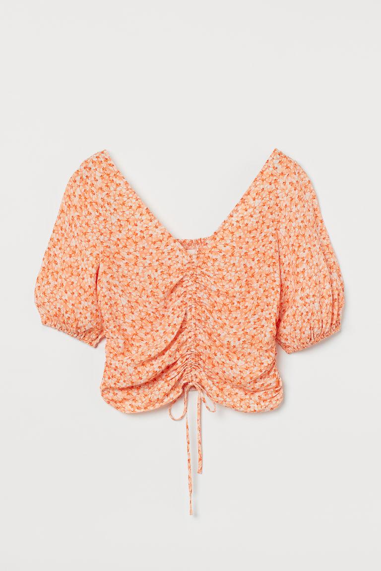H & M - 垂墜感女衫 - 橙色