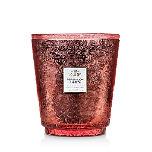 Voluspa Japonica Persimmon and Copal Embossed Glass Hearth Candle 123 oz.