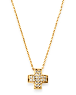 Bloomingdale's Pave Diamond Cross Pendant Necklace in 14K Yellow Gold, 0.06 ct. t.w. - 100% Exclusiv
