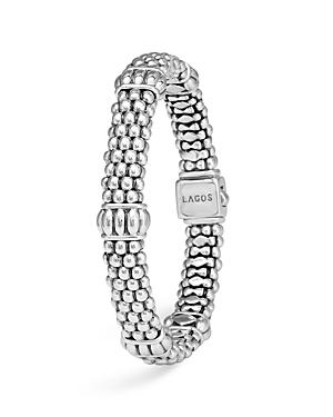 Lagos Signature Sterling Silver Fluted Station Caviar Bracelet