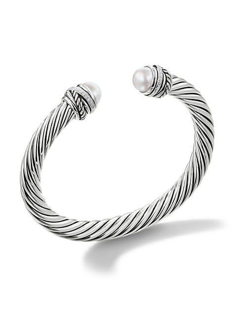Cable Classic Crossover Bracelet with Pearls and Diamonds/7mm