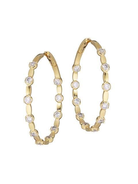 Muse 18K Goldplated & Cubic Zirconia Medium Lentil Hoop Earrings