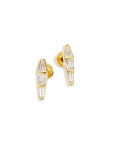 Spectrum Tapered Diamond & 18K Yellow Gold Stud Earrings