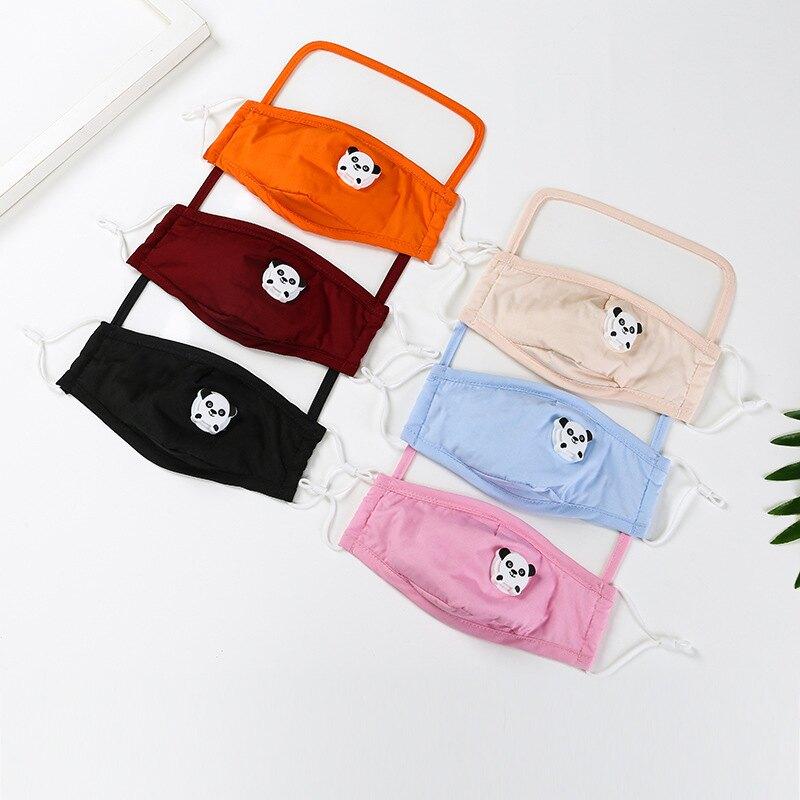 兒童熊貓一體式排氣閥款可水洗飛沫隔離保護防護透明護目防塵口罩(1組2件)M2600