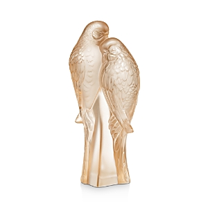 Lalique 2 Parakeets Figure, Gold Luster