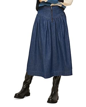 Whistles Denim Pleated Midi Skirt