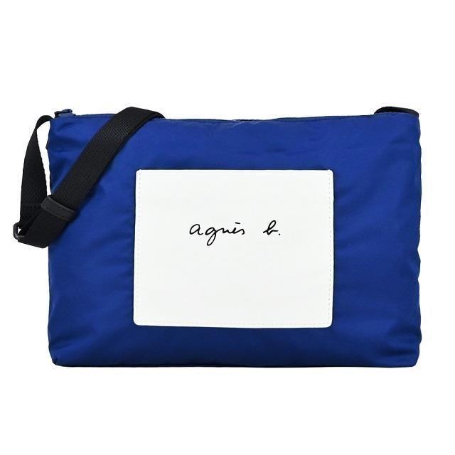 agnes b. 皮革前口袋拼接尼龍斜背包-藍