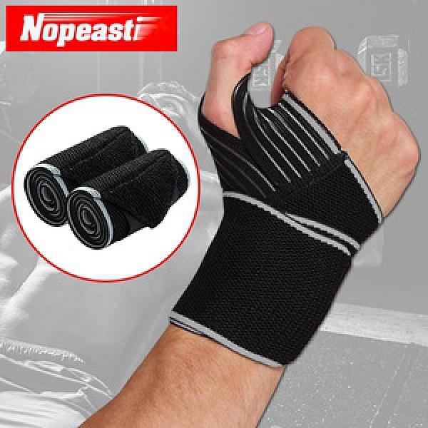 Nopeasti諾比 纏繞式運動健身矽膠防滑固定保護手腕拇指套 2入灰