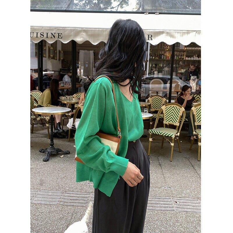 夏季新款吊帶女V領純色休閒背心寬鬆慵懶隨性套裝上衣