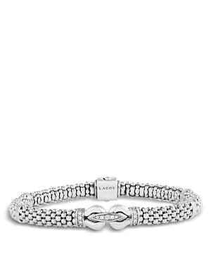 Lagos Derby Sterling Silver Bracelet with Diamonds